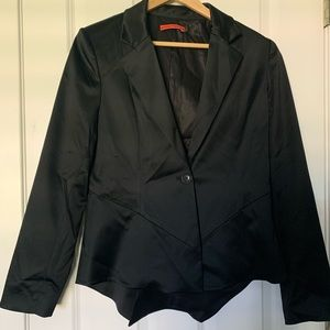 {Alice + Olivia} EUC black satin jacket size large